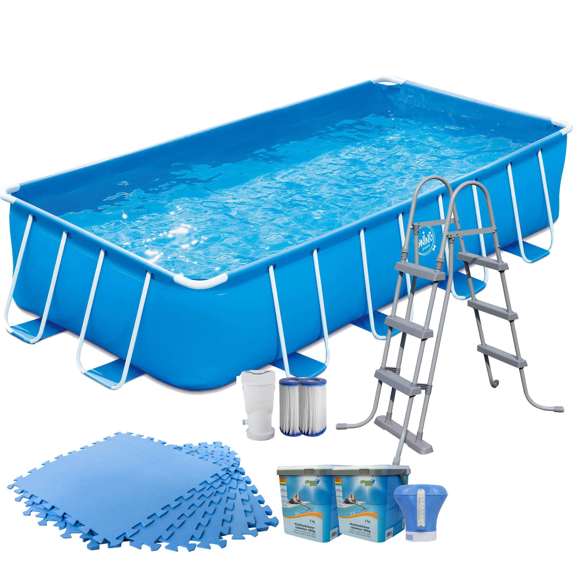 Frame Pool blau rechteckig 488x244x107cm Set mit Bodenschutzmatten blau 4mm