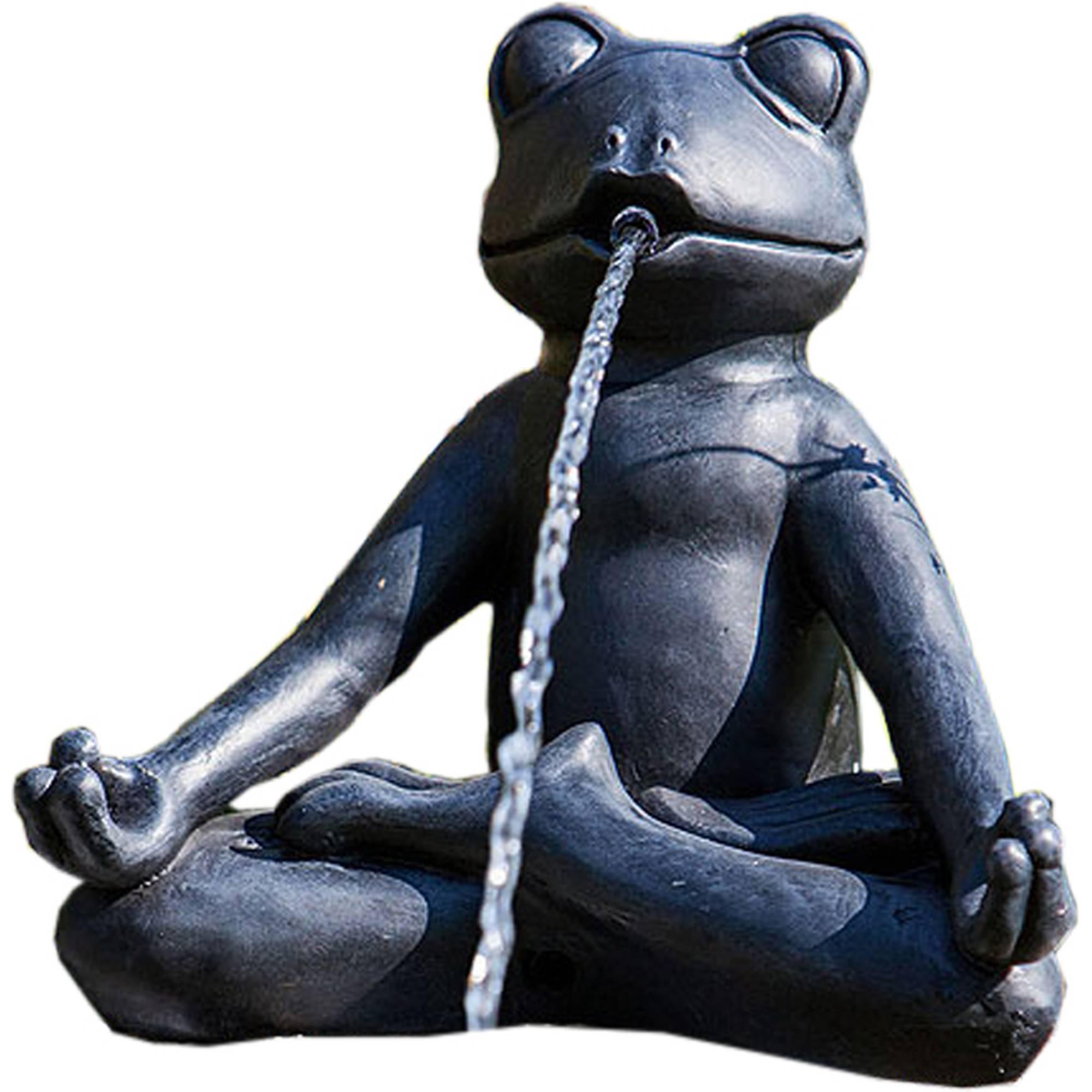 Teichfigur Yoga-Frosch im Schneidersitz meditierend