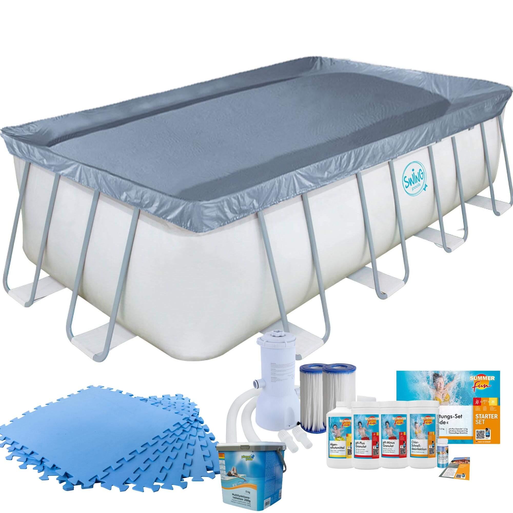 Frame Pool mit Kartuschenfilter, Bodenschutzmatten blau und Starter Set Wasserpflege