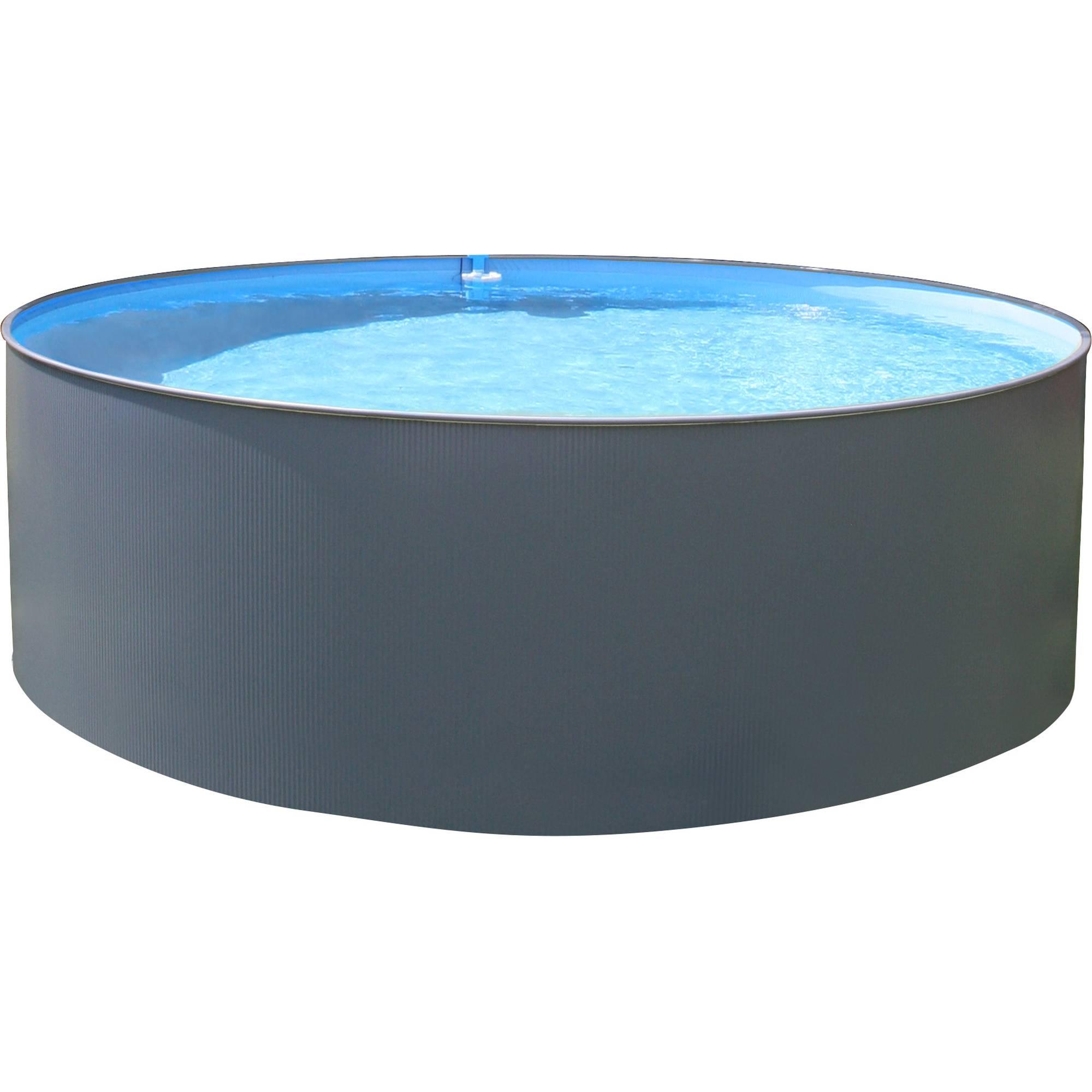 Stahlwandpool rundform anthrazit 450x90 cm, overlap S0