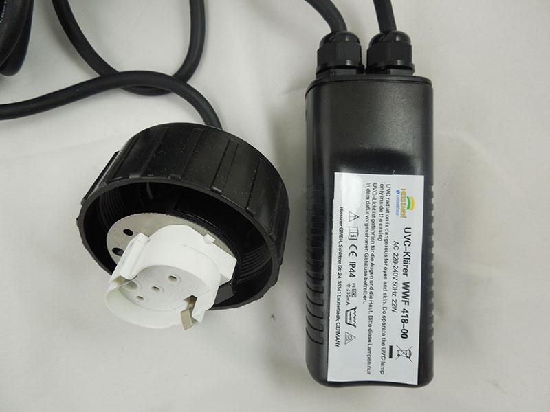 UVC-Deckel inkl. Anschlusskabel und Starter 18 Watt