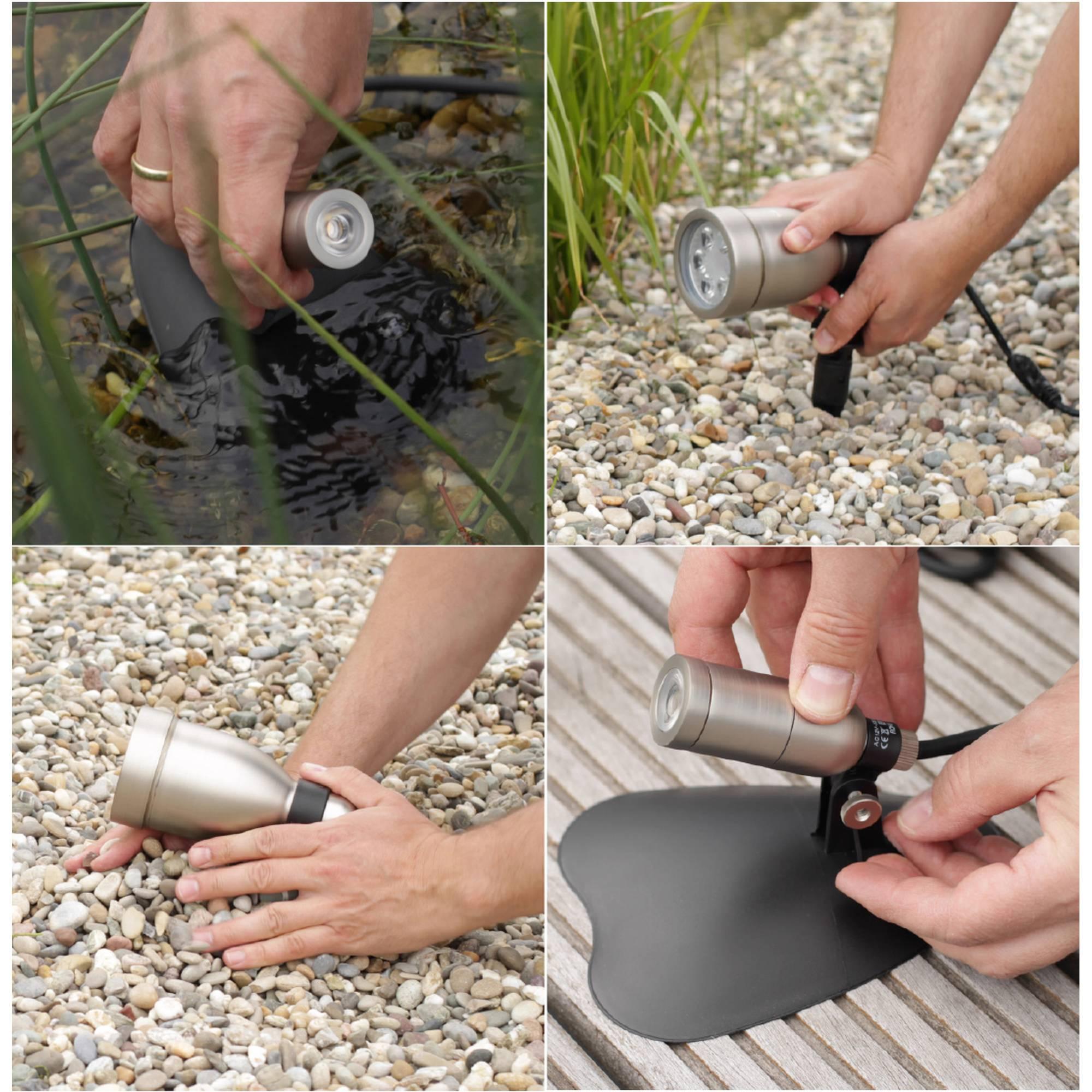 verschiedene Befästigungsmöglichkeiten für eine Gartenlampe