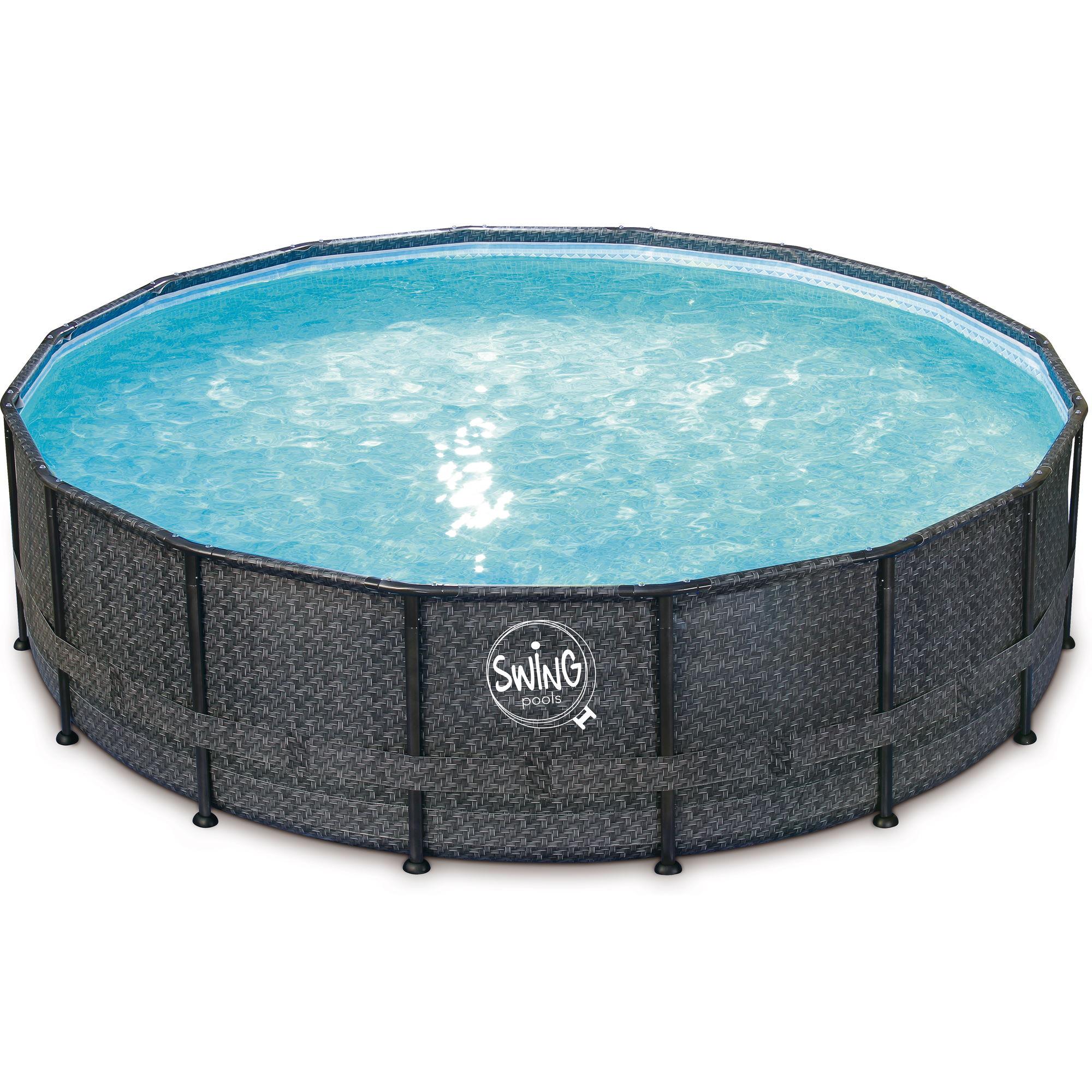 Elite Frame Pool rund - Rattan dunkel grau 488x122cm Solo