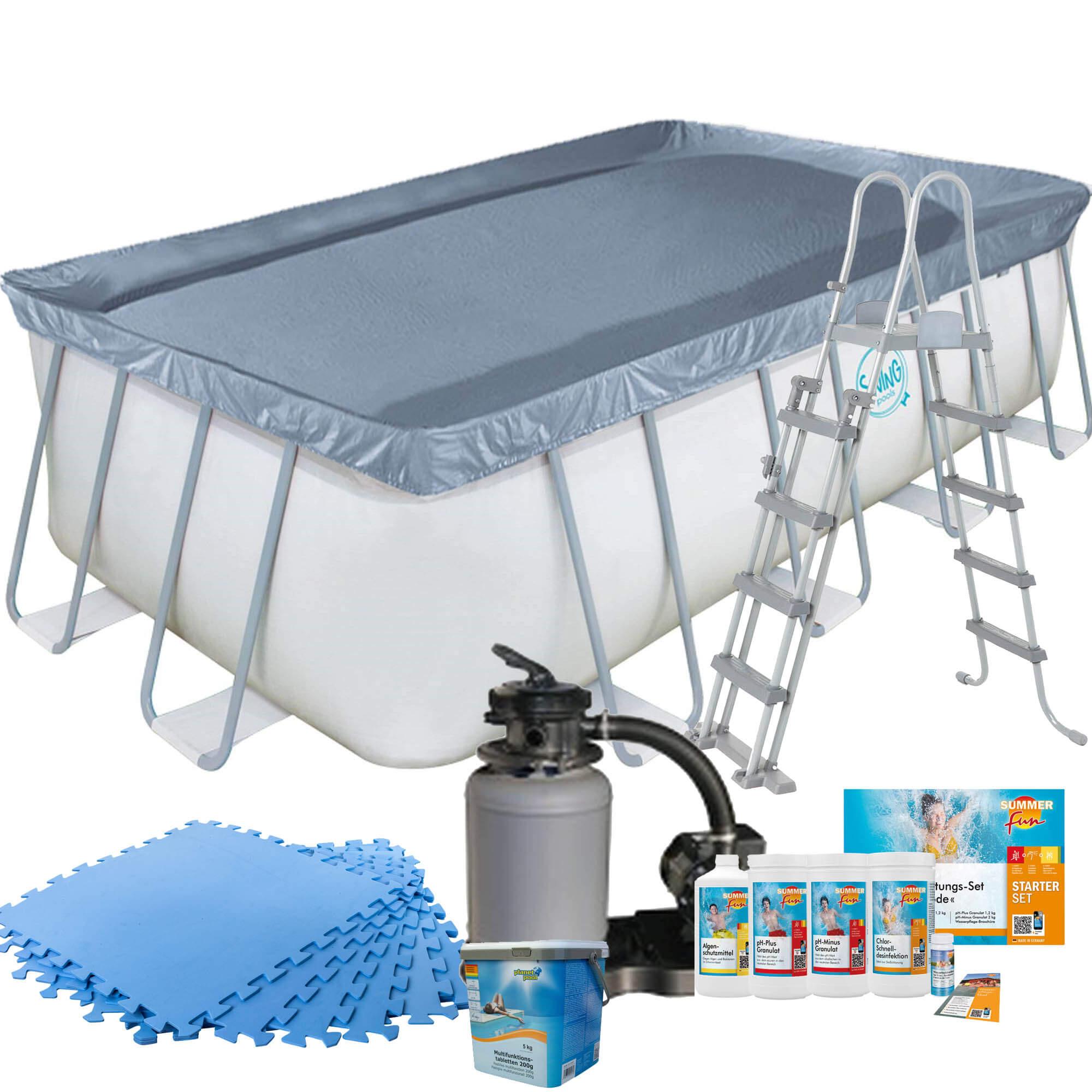 Frame Pool mit Sandfilter, Bodenschutzmatten blau, Leiter und Starter Set Wasserpflege