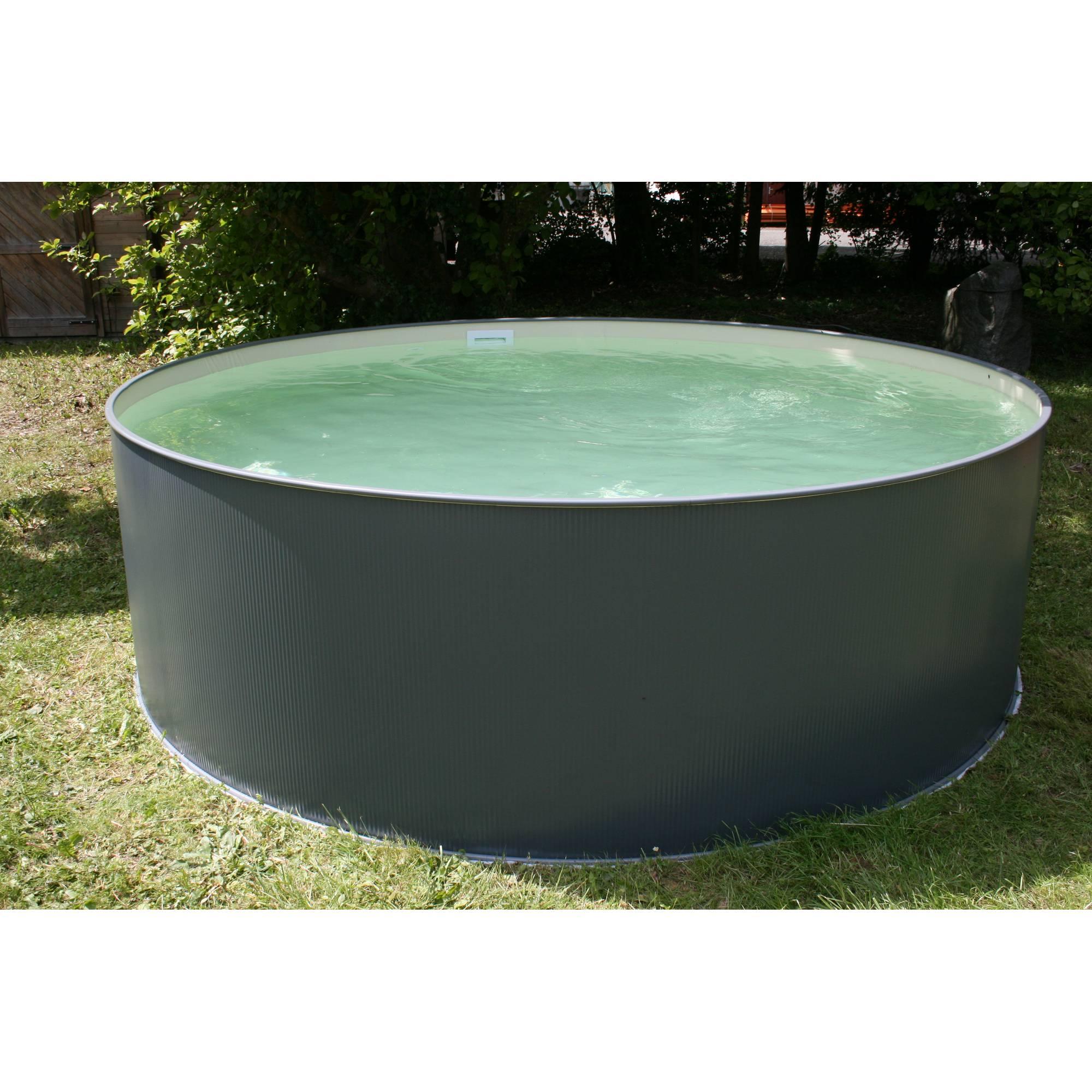 Stahlwandpool rundform anthrazit 350x90 cm, overlap S0