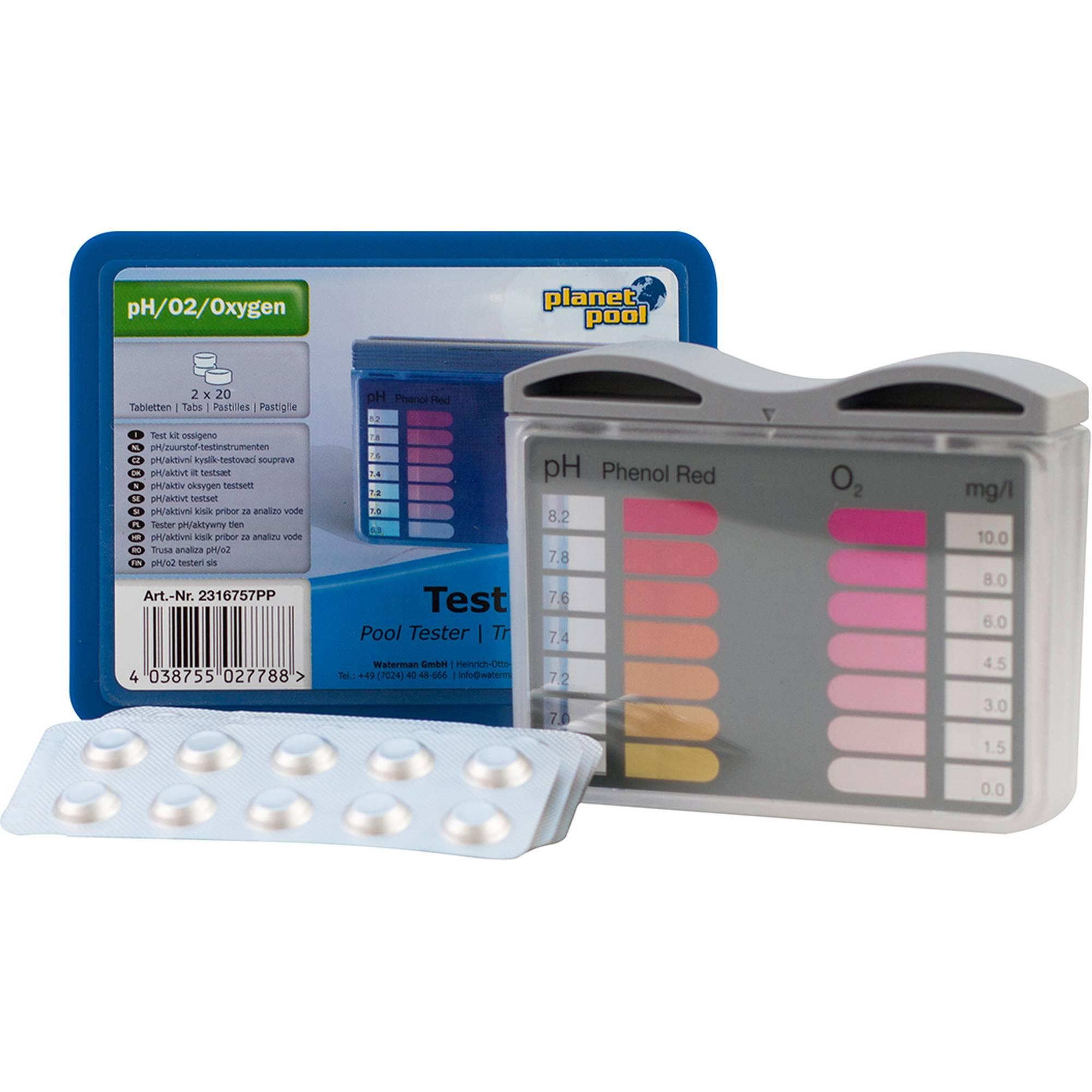 pH / Sauerstoff-Testbesteck - mit je 20 Tabletten