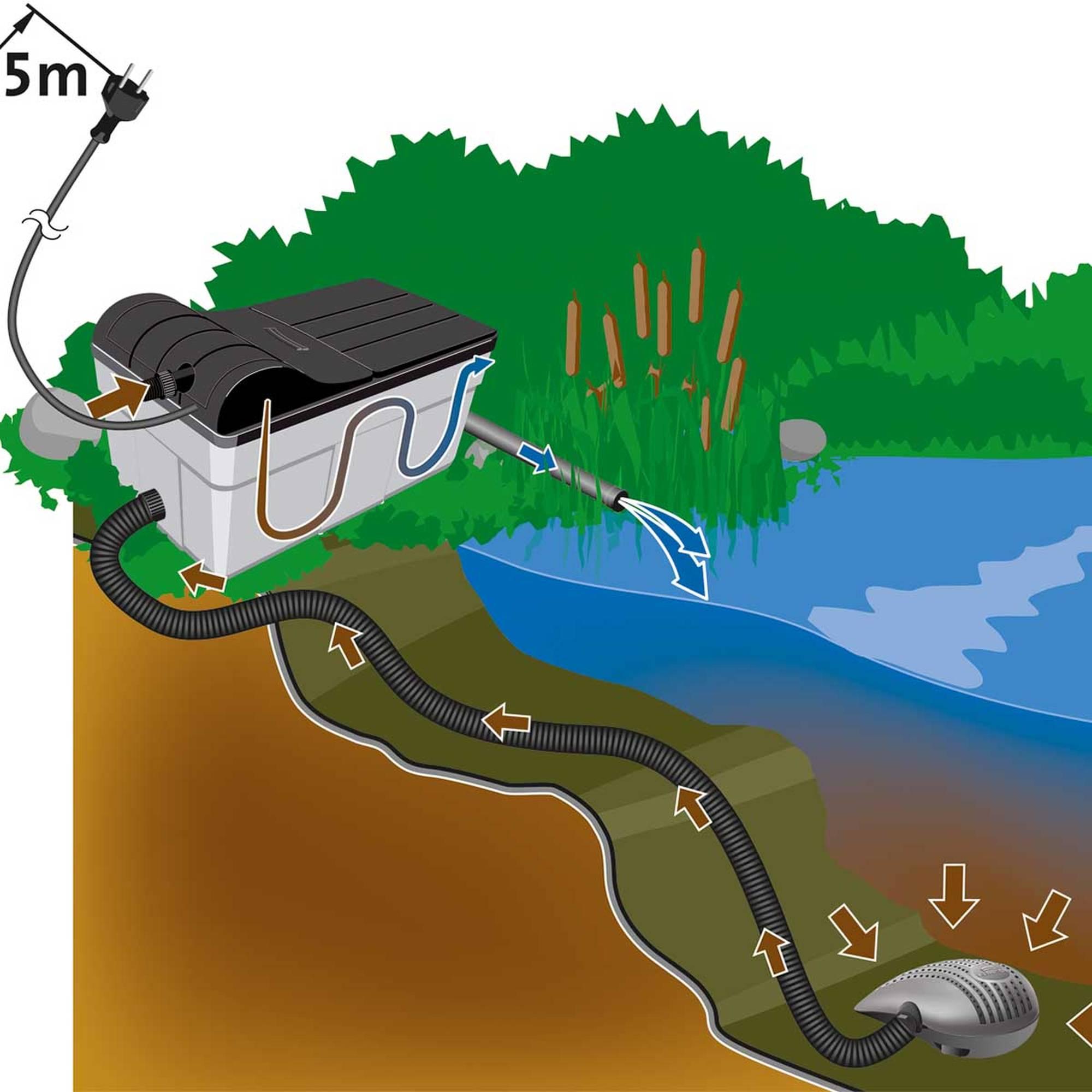 grafische Darstellung von großer Filteranlage im Teich