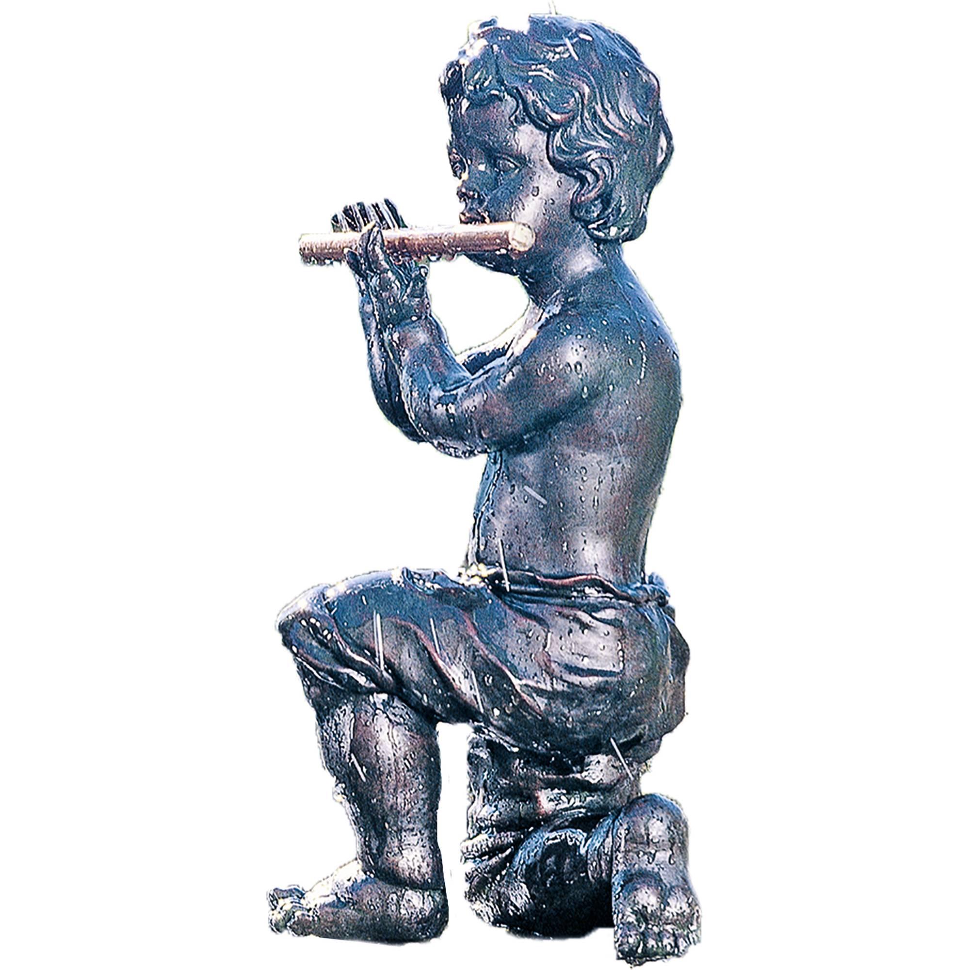 Teichfigur Speier  Flötenspieler  Dekor Kupfer von Heissner