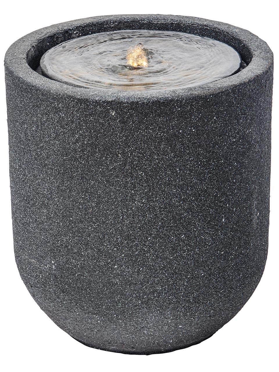 Heissner Gartenbrunnen Zylinder LED schwarz